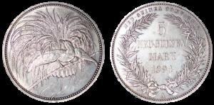 ドイツ領ニューギニア 極楽鳥5マルク銀貨